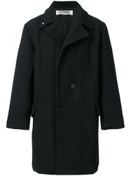 Individual Sentiments Oversized Double Breasted Coat Cotton Linen Flax Black
