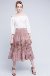 Anthropologie Aldane Suede Midi Skirt Mauve
