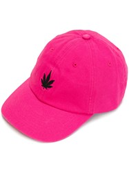 Palm Angels Leaf Print Baseball Cap Cotton Polyester Pink Purple