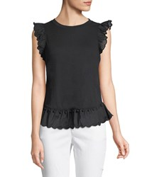 Kate Spade Sleeveless Top W Pom Pom Trim Black