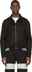 Denis Gagnon Black Lattice Mesh Quilted Bomber Jacket
