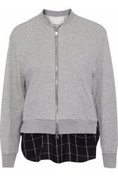 3.1 Phillip Lim Layered Cotton Jersey And Checked Flannel Sweatshirt Light Gray
