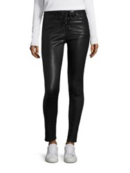 Rag And Bone High Rise Lace Up Leather Skinny Jeans Washed Black