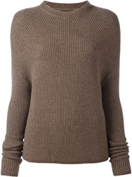 Rick Owens Ribbed Long Sleeve Jumper Brown