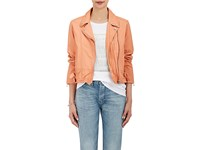 Sea Women's Leather Moto Jacket Pink Orange