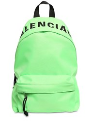 Balenciaga Logo Embroidered Nylon Backpack Green
