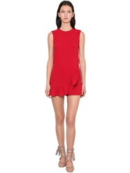Red Valentino Ruffled Stretch Frisottino Jumpsuit Red