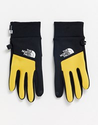 The North Face Etip Gloves In Black Yellow