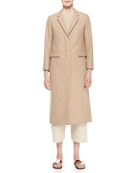 The Row Classic Fitted Zip Long Coat Camel Melange