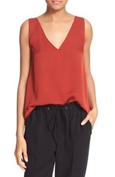 Women's Theory 'Narcy Z' V Neck Silk Georgette Tank Red Oak