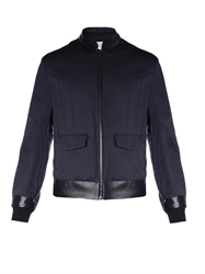 Maison Martin Margiela Creased Cotton Blend And Leather Jacket