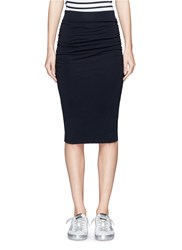 James Perse Ruched Side Stretch Pencil Skirt Blue