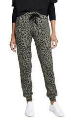 Chrldr Leopard Print Flat Pocket Sweatpants Olive Grey