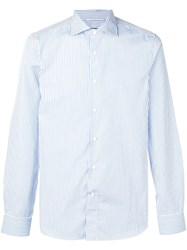 Canali Striped Slim Shirt Blue