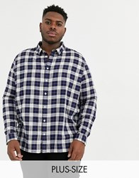 Burton Menswear Big And Tall Checked Shirt In Navy And Stone