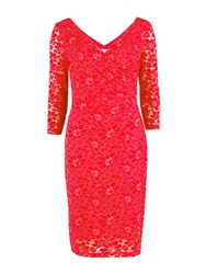 Gina Bacconi Stretch Lace Ruched Dress Bright Red