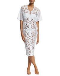 Miguelina Kate Cotton Crochet Coverup Dress Pure White