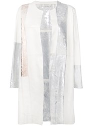 Giorgio Brato Patchwork Open Front Coat White