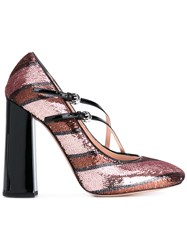Rochas Glitter Striped Pumps Women Calf Leather Leather Pvc 40 Black