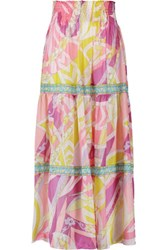 Emilio Pucci Smocked Printed Cotton And Silk Blend Maxi Skirt Pink