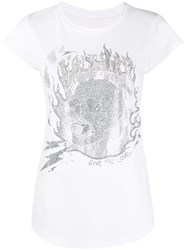 Zadig And Voltaire Embellished Skull T Shirt White