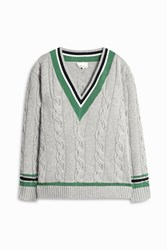 3.1 Phillip Lim V Neck College Sweater Grey