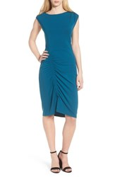 Trouve Ruched Knit Dress Teal Moroccan