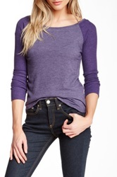 Hodges Collection Thermal Sleeve Baseball Sweater Purple