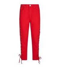 Sandro Lace Up Jeans Red