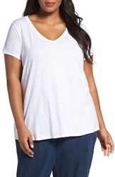 Eileen Fisher Plus Size Women's Organic Slub Cotton Jersey Tee White