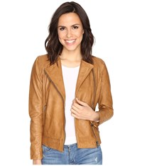 Lucky Brand Collarless Leather Jacket Camel Women's Coat Tan