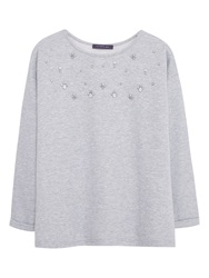 Violeta By Mango Crystal Detail Sweatshirt Medium Grey
