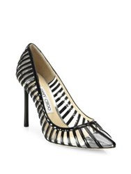 Jimmy Choo Romy Patent Leather And Pvc Cap Toe Pumps Black Clear