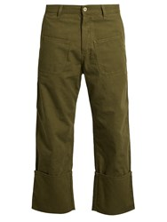 Loewe Patch Pocket Cotton Blend Cropped Trousers Green