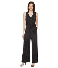 Tahari By Arthur S. Levine Pindot Jersey Jumpsuit Black Ivory Women's Jumpsuit And Rompers One Piece