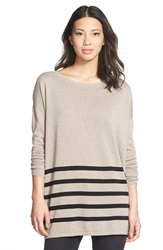 Caslon Blanket Stripe Cotton Blend Pullover Heather Tan Black Stripe