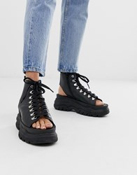 Bronx Chunky Hiker Sandals In Black Leather