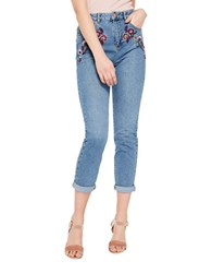 Miss Selfridge Embroidered Cropped Jeans Blue