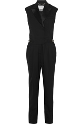 Jason Wu Silk Satin Trimmed Stretch Wool Jumpsuit Black