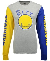 47 Brand '47 Men's Golden State Warriors Circuit Long Sleeve T Shirt Gray Yellow Blue