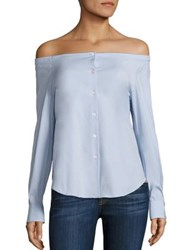 Theory Auriana Stretch Cotton Off The Shoulder Shirt Larkspur Blue