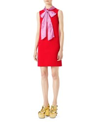 Gucci Sleeveless Stretch Jersey Bow Gown Red