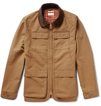 Gant Corduroy Trimmed Cotton Canvas Field Jacket Brown
