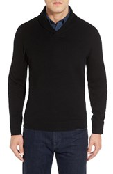 Nordstrom Men's Big And Tall Men's Shop Shawl Collar Cashmere Pullover Black Caviar