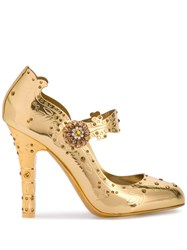Dolce And Gabbana Embellished Mary Jane Pumps Gold