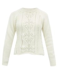 Brock Collection Pointelle Cable Knit Wool Blend Sweater Ivory