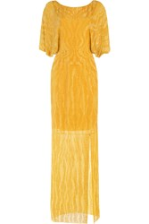 Jenny Packham Bead And Sequin Embellished Floor Length Silk Gown Yellow