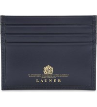 Launer Lizard And Calf Leather Card Holder Indigo