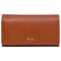 Tula Originals Leather Large Flapover Purse Tan