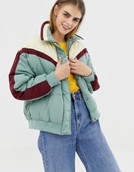 Pull And Bear Pullandbear Chevron Puffer Jacket Blue